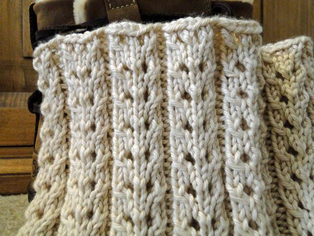 Eyelet Ivory Boot Cuffs Knitting Patterns And Crochet Patterns