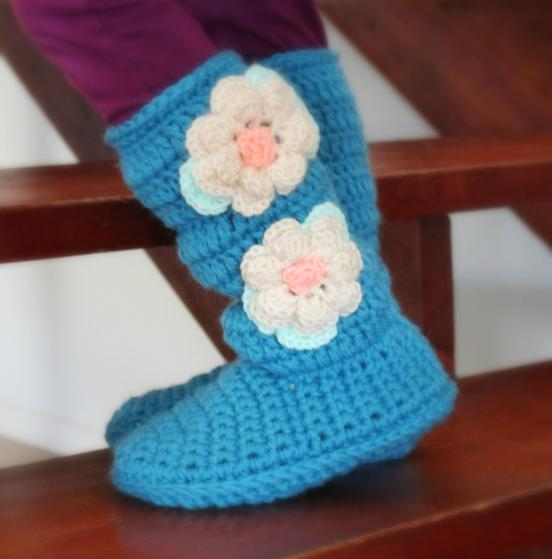 Youth Cozy Crochet Slipper Boots - Knitting Patterns and ...