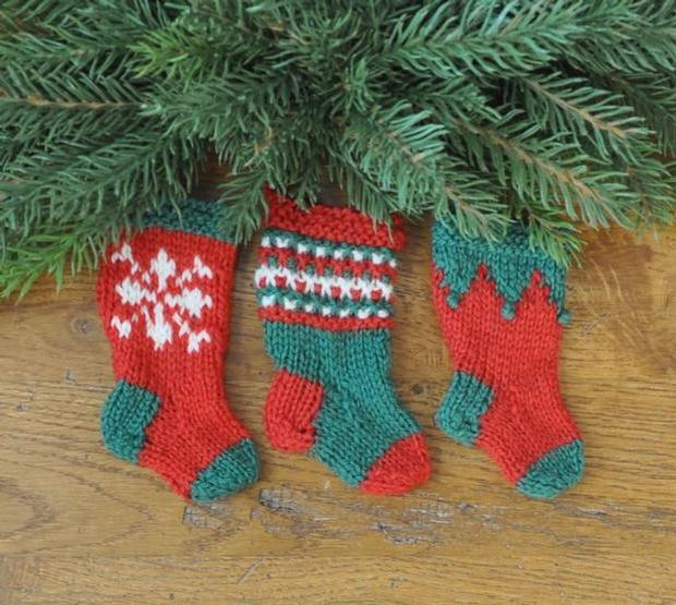 Free Knitting Pattern For Large Christmas Stocking : Nordic Christmas Stocking Ornament Set - Knitting Patterns and Crochet Patter...