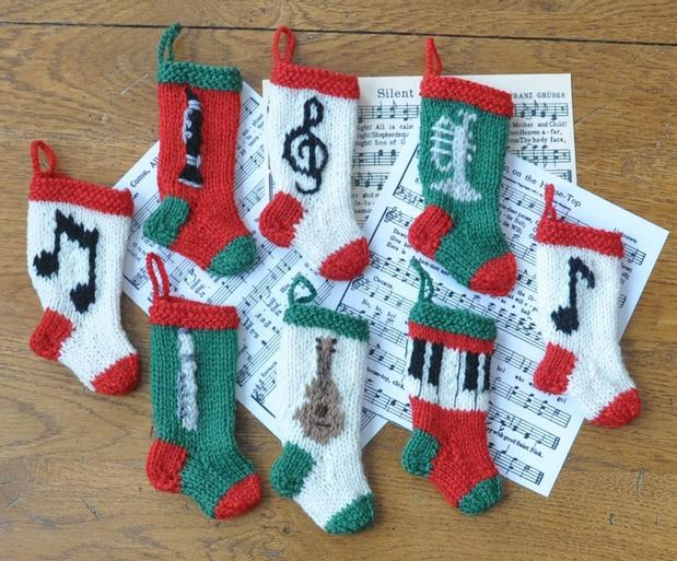 Musical Christmas Stocking Ornaments Knitting Patterns And Crochet