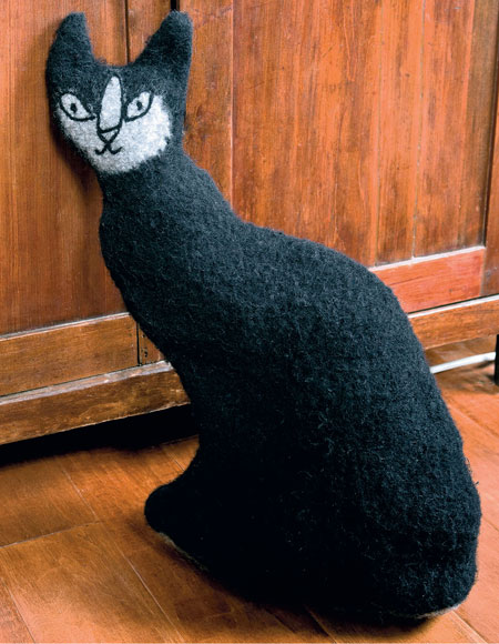 Felted Cat Doorstop Pattern Knitting Patterns And