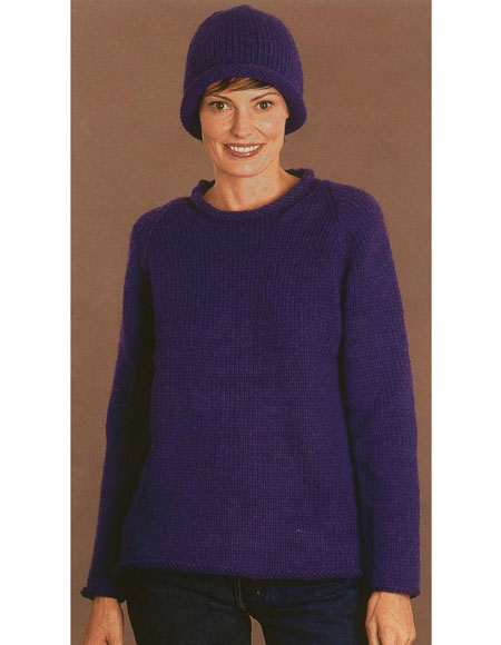 Roll Neck Raglan Pullover With Hat Pattern Knitting Patterns And
