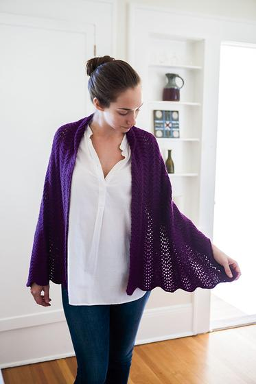 Lace Shawl free knitting pattern in royal purple