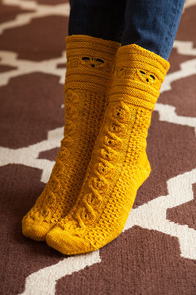 Free Dog Patterns To Knit : Busy Bees Socks - Knitting Patterns and Crochet Patterns from KnitPicks.com