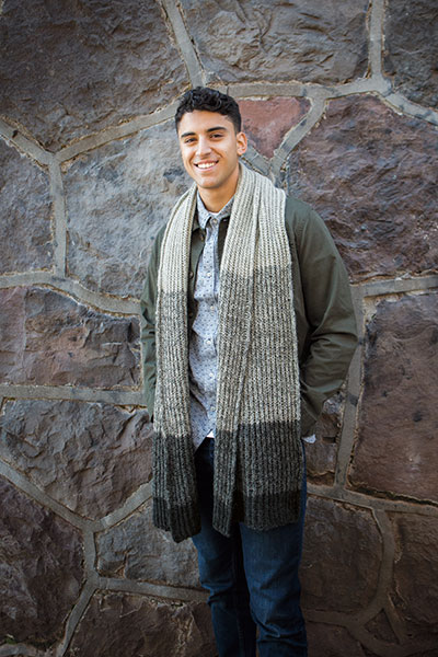 Model wearing the Bailiff Scarf