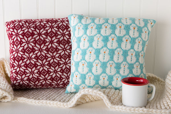 Snowy Cushions Knitting Patterns And Crochet Patterns From
