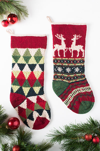 Triangle And Reindeer Stockings Knitting Patterns And Crochet