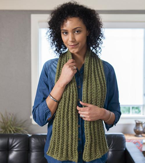 English Rib Scarf Knitting Patterns And Crochet Patterns From