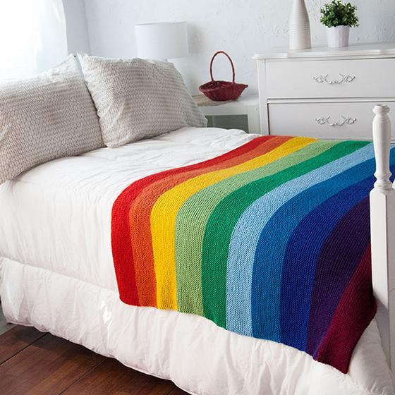 Knitting Pattern Rainbow Blanket : The Mighty Rainbow Blanket - Knitting Patterns and Crochet ...