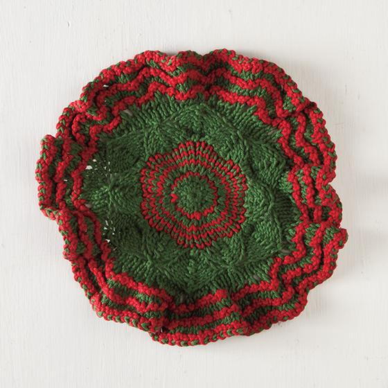 Festive Wreath Dishcloth Knitting Patterns And Crochet Patterns