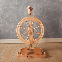 A brown spinning wheel