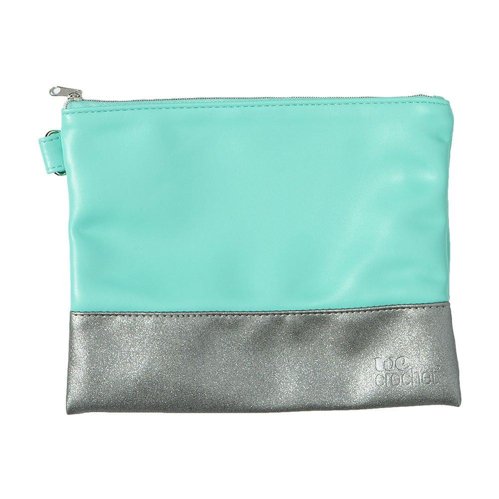 Zippered Pouch: Aqua & Silver Sparkle