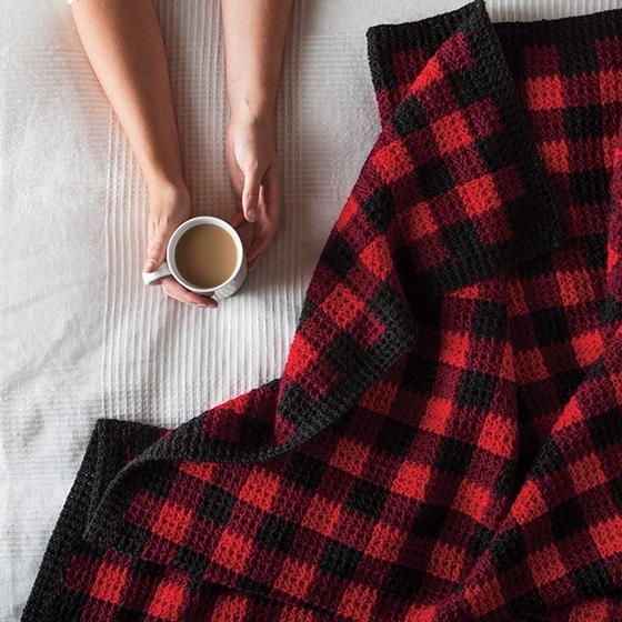 Fireside Gingham Afghan & Pillow Free Pattern