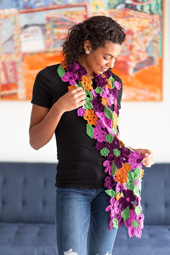 Flower Garden Scarf Free Crochet Pattern