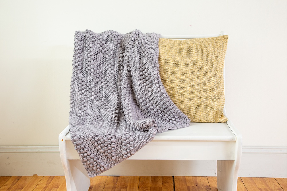 Bobble Diamonds Throw Free Crochet Pattern