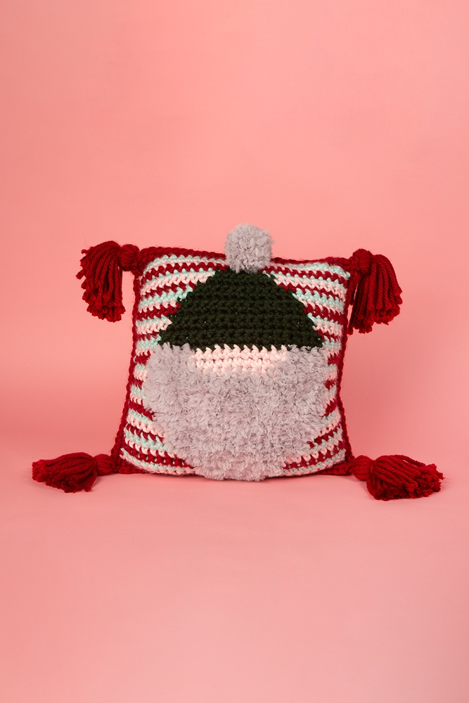 Holiday Gnome Pillow Free Crochet Pattern