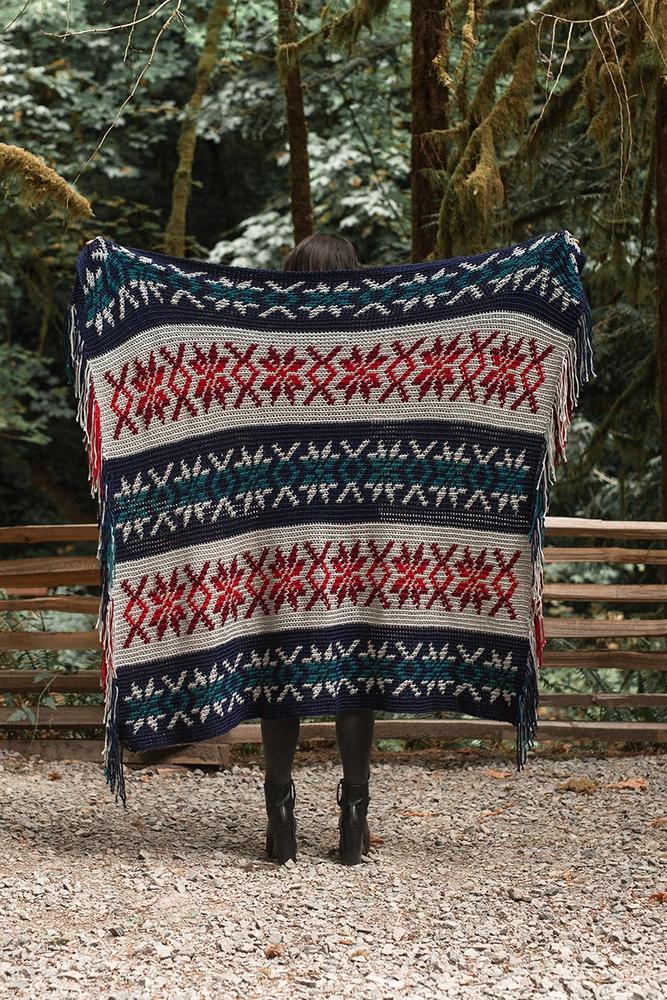 Nordic Colorwork Blanket Free Crochet Pattern
