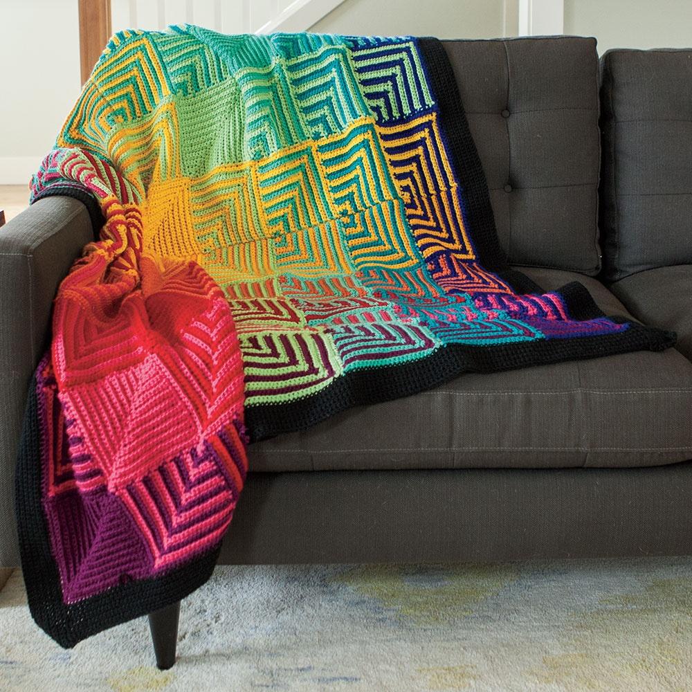 Crochet Rainbow Hut Afghan Kit