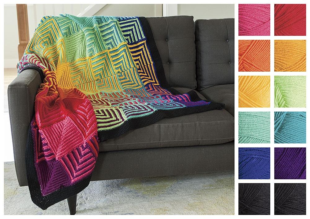 Crochet Rainbow Hue Shift Afghan Kit