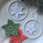 Snowflakes and Stars Applique and Bangle Ornaments Pattern