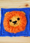 "Crochet 8 x 8"" Lion Square"