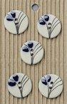 Handmade Blue Flower Stoneware Buttons