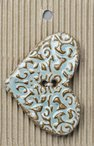 Handmade Stoneware Buttons -  Large Teal Heart