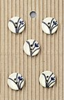Black & White Flower Stem Stone Buttons