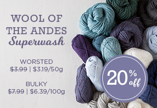 Monthly Yarn Sale - Save 20% on Wool of the Andes Superwash Yarn