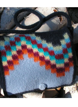 Northern Lights Felted Messenger Purse