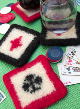 Felted Poker Coasters