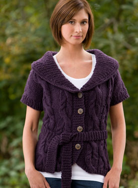 Fitted Cabled Shawl-Collared Vest
