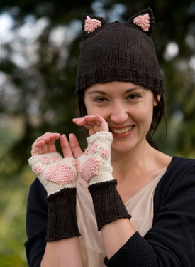 Kitty Cat Paw Mitts and Hat