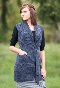 Tie Front Cabled Tunic Vest