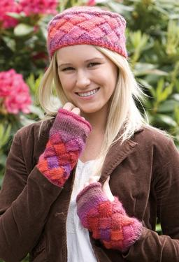 Chroma Entrelac Hat and Fingerless Mitts
