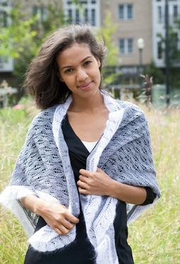 Granite and Cloud Lace Triangle Wrap