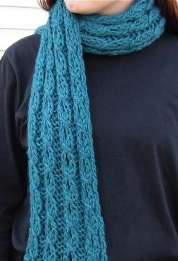 Mock Cable and Eyelet Scarf