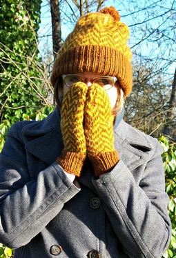 Herringbone Hat and Mittens