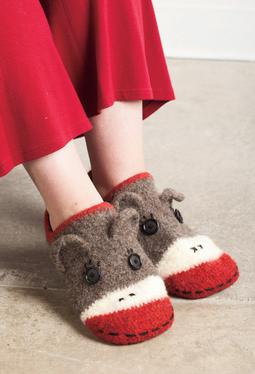 Crocheted Sock Monkey Slippers