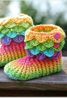 Child Size Crocodile Stitch Crochet Boots
