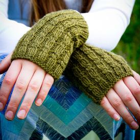 Cascades Cabled Fingerless Mitts
