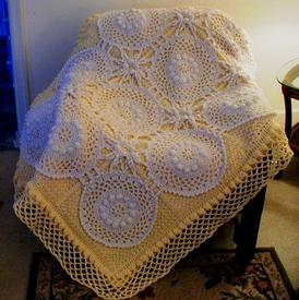 Paneled Lace Crochet Afghan