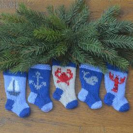 Nautical Christmas Stocking Ornament Pattern Set