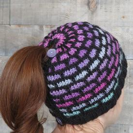 Ombre Bricks Ponytail Hat