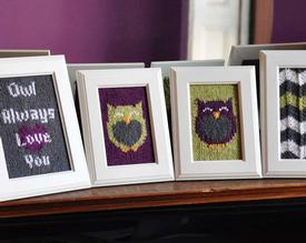 Owl Friends Knitted Wall Art