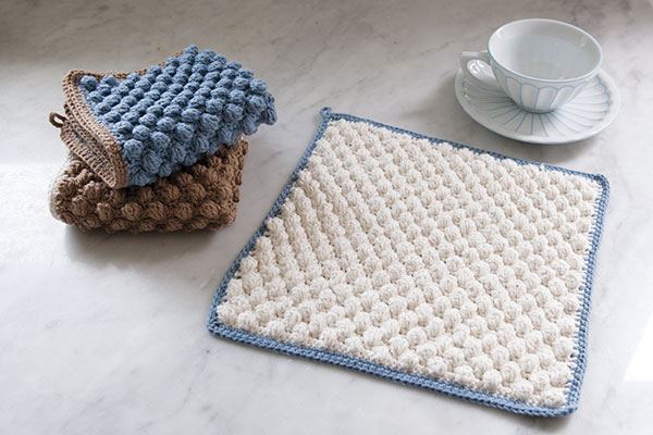 Crochet Stitches Washcloths : Bobble Crocheted Washcloth - Knitting Patterns and Crochet Patterns ...
