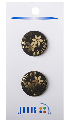 Ikebana Button - Black/Gold