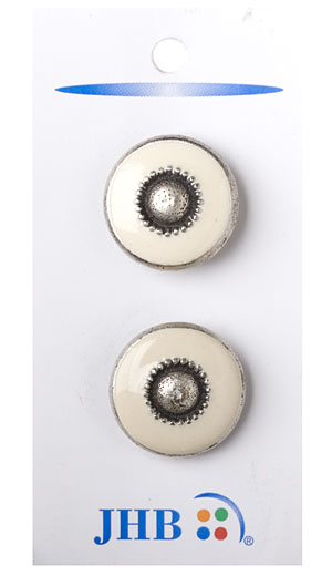 Ranchero Button - Antique Silver/Cream