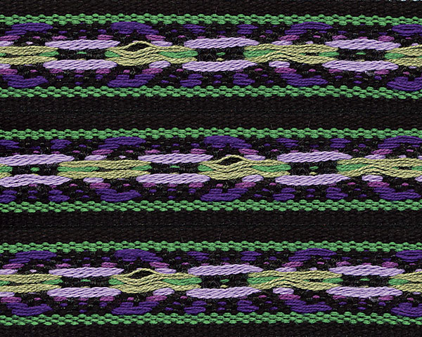 Folkloric Cotton Ribbon Green/Purple