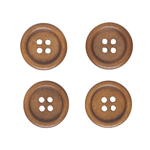 Coffee Wood Buttons, 15mm